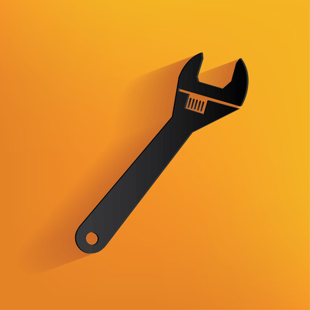 turn screw: Repair design on yellow background, clean vector