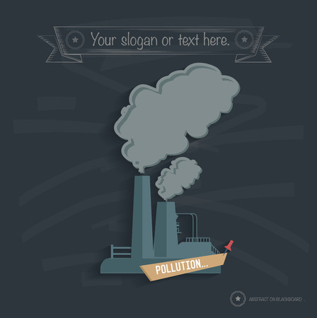 catalyst: Pollution, industry design on blackboard background, clean vector