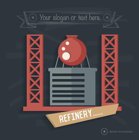 refinery: Refinery, Factory, industry design on blackboard background, clean vector
