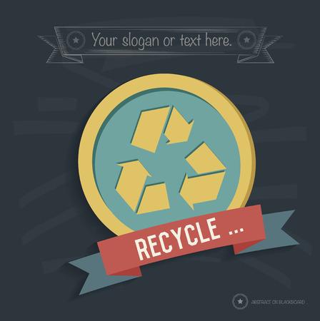vectorrn: Recycle design on blackboard background, clean vector Illustration