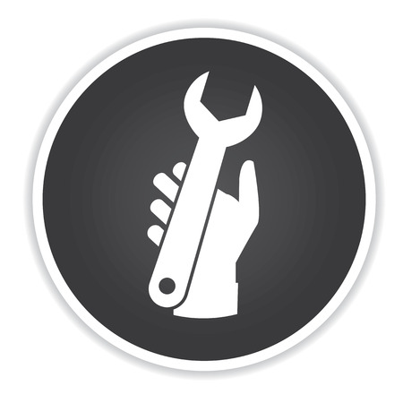 turn screw: Repair icon on black button background,clean vector