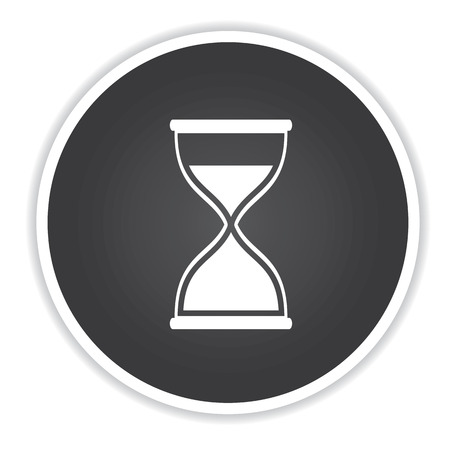 timepieces: Hourglass design on black button background,clean vector