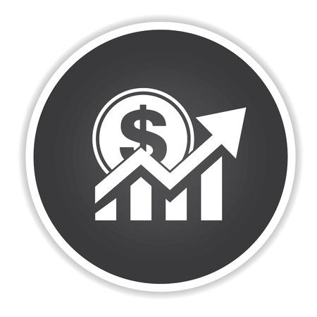Growth money design on black button background,clean vector