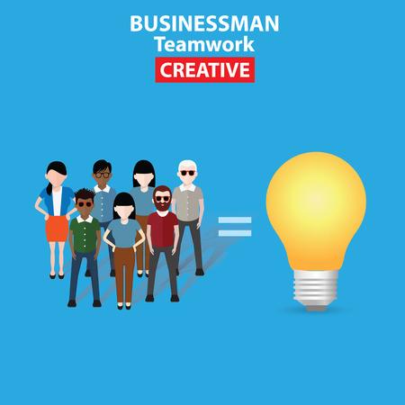brain storm: Brain storm, Idea, business concept on blue background, clean vector Illustration