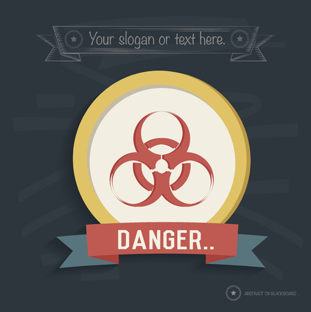 isotope: Danger,biohazard design on blackboard background,clean vector Illustration