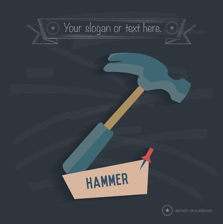 Hammer design on blackboard background, clean vector Vector