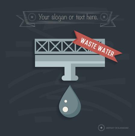 Waste water design on blackboard background, clean vector