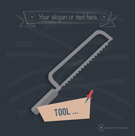 carpentry cartoon: Saw design on blackboard background,clean vector