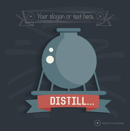 Distill industry on blackboard background, clean vector Illustration
