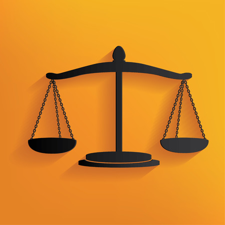 scale of justice: Justice scale design on yellow background, clean vector Illustration