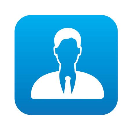 whitern: Man icon on blue button, clean vector