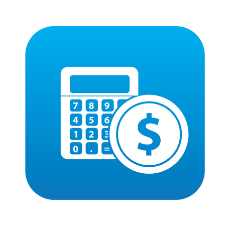 calculate: Calculate icon on blue button, clean vector Illustration