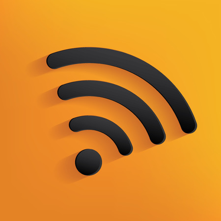 telecast: Wireless design on yellow background,clean vector Illustration