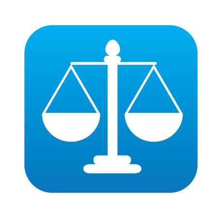 justice scale: Justice scale icon on blue button, clean vector Illustration