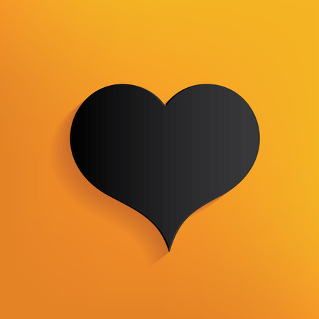 yellowrn: Heart design on yellow background,clean vector Illustration