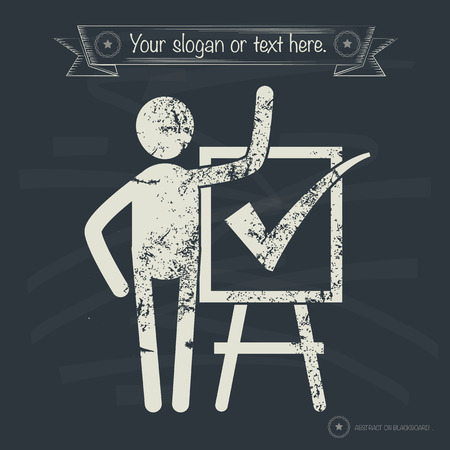 Checking mark concept, human resource on old background, grunge vector Vector