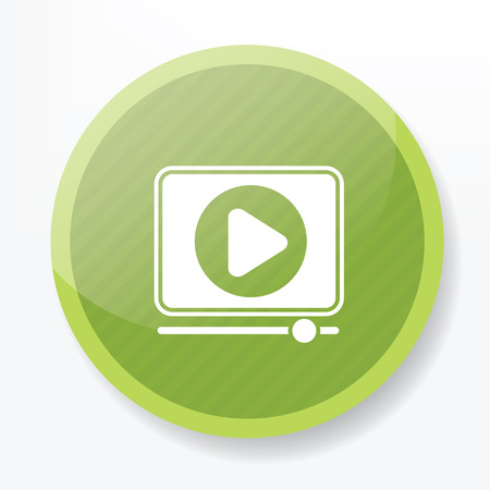windows media video: Video play on green flat button,clean vector