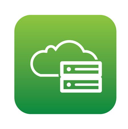 green computing: Cloud computing on green flat button,clean vector