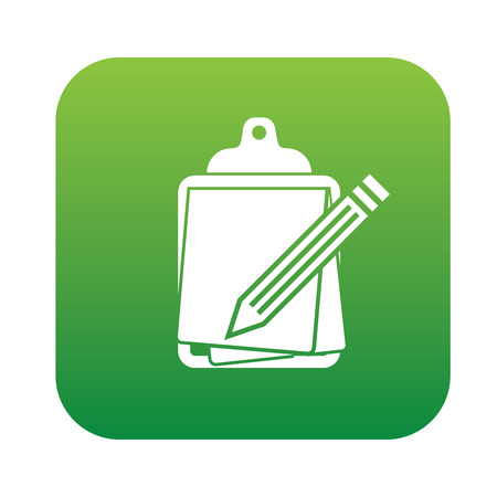 autographing: Contract symbol design on green button,clean vector