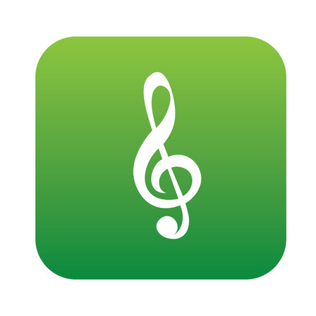 trill: Song symbol design on green button,clean vector Illustration