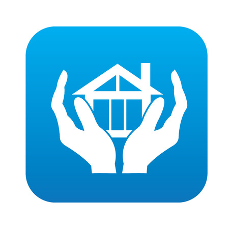 sawed: Safety Home icon on blue button