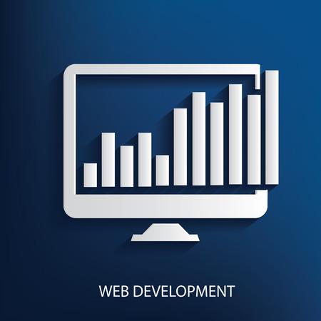 Web development symbol on blue background Vector