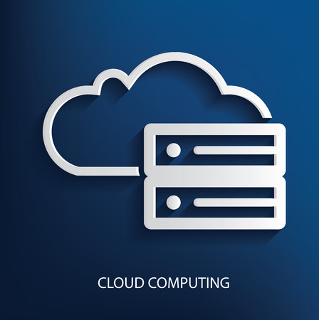 accessing: Cloud data symbol on blue background