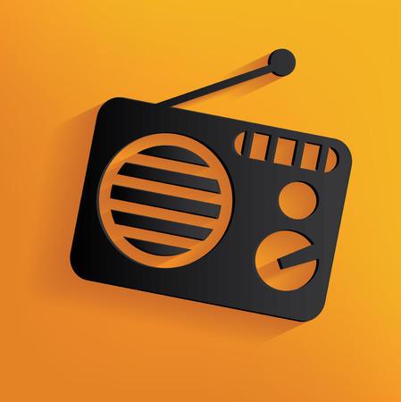 am radio: Radio design on yellow background, clean vector Illustration