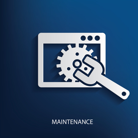 rework: Maintenance symbol on blue background Illustration