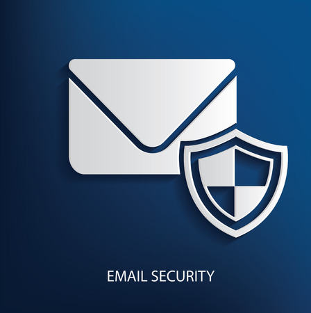 outlook: Email security symbol on blue background