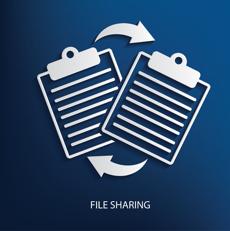file sharing: File sharing symbol on blue background