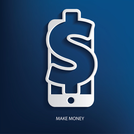 transferring: Spend symbol on blue background