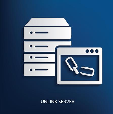 rnabstract: Unlink server symbol on blue background Illustration