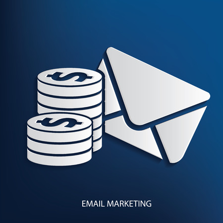 rnabstract: Email marketing symbol on blue background