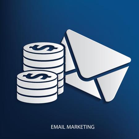 Email marketing symbol on blue background