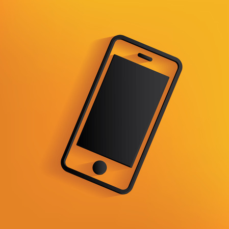 mobil phone: Mobile phone design on yellow background Illustration