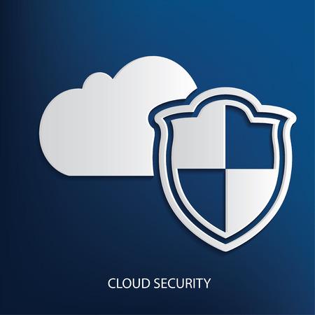 Cloud security symbol on blue background Illustration