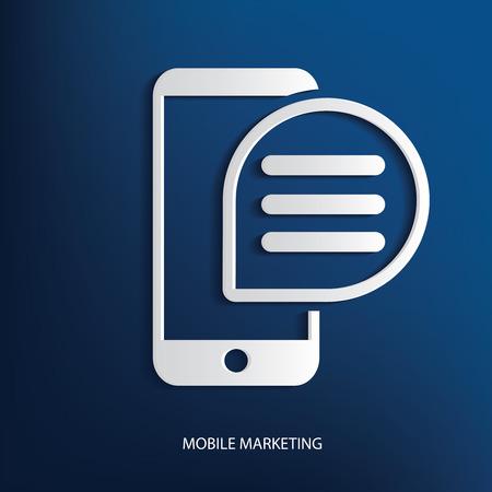 mobile marketing: Mobile marketing symbol on blue background Illustration