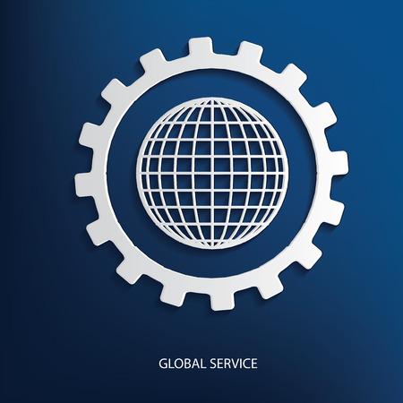 Global service symbol on blue background