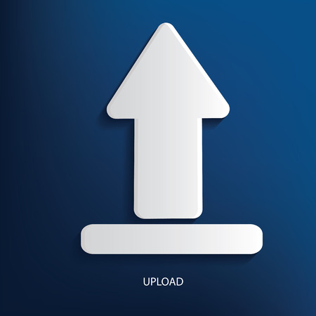 Upload symbol on blue background