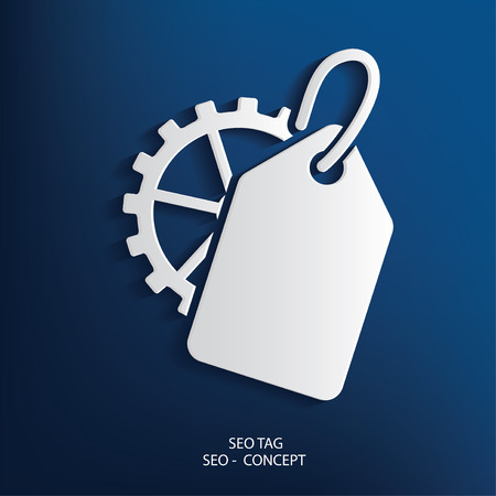 Tag symbol on blue background