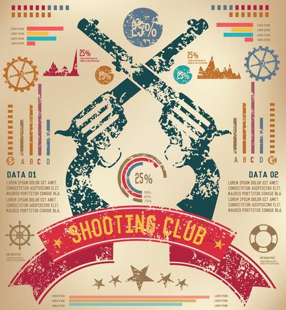 seal gun: Weapon design on old paper background,info graphic,grunge vector Illustration