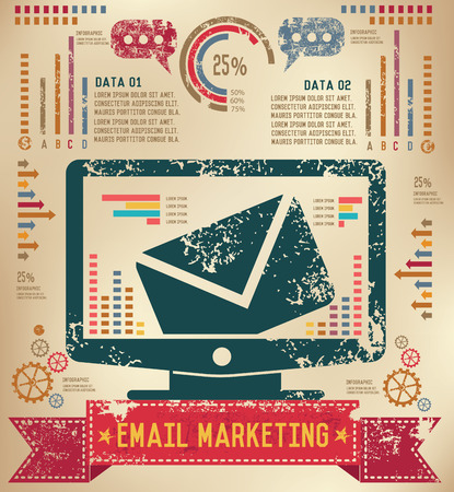 wwwrn: Email design on old paper background,info graphic,grunge vector