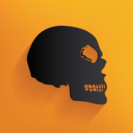 sapiens: Skull design on yellow background, clean vector