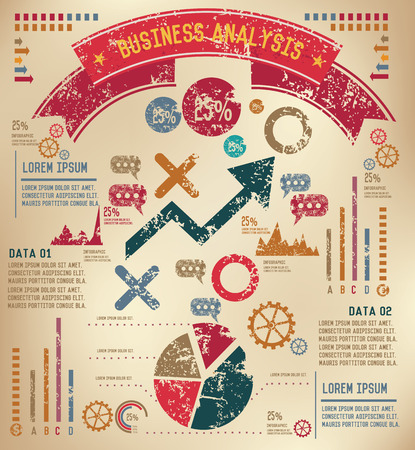 rnabstract: Strategy design on old paper background,info graphic,grunge vector
