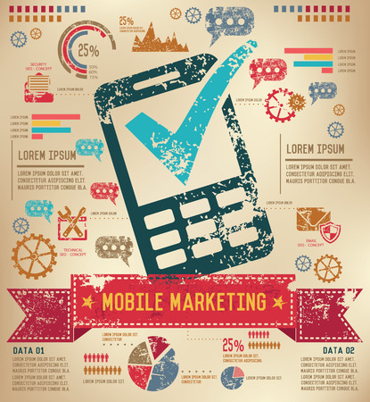 old phone: Mobile phone design on old paper background,info graphic,grunge vector Illustration