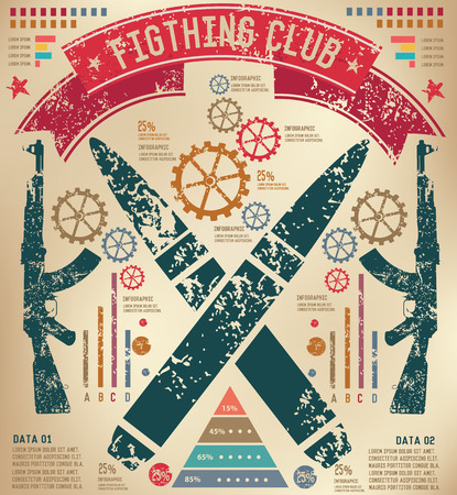 Weapon design on old paper background,info graphic,grunge vector Illustration