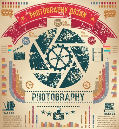 old background: Shutter infographic design on old background