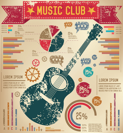 Guitar design on old paper background,info graphic,grunge vector