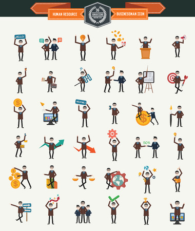Large set of 36 businessmen iconsHuman resourceclean vector